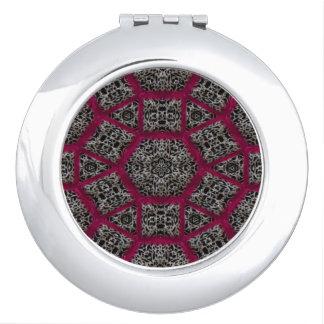 Gotisches Fuschia Schwarz-weißes Veiny Mosaik Taschenspiegel