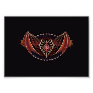 Gotisches Herz mit Flügel-Tätowierungs-Entwurf Fotografischer Druck