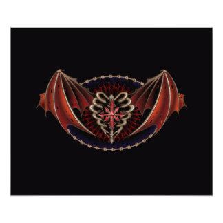 Gotisches Herz mit Flügel-Tätowierungs-Entwurf Fotos
