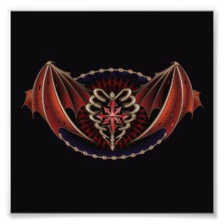 Gotisches Herz mit Flügel-Tätowierungs-Entwurf Kunstfotos