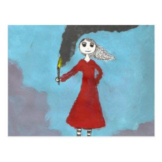 Gotisches Mädchen mit Fackel Postkarte