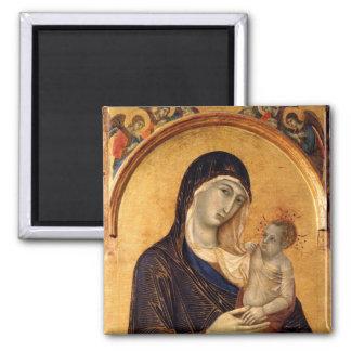Gotisches Madonna und Kind Quadratischer Magnet