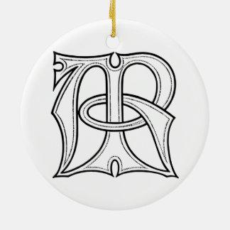 Gotisches Monogramm AR Rundes Keramik Ornament
