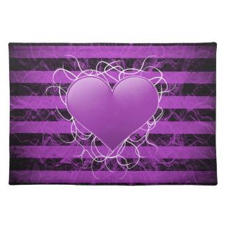 Gotisches Punkemo lila Herz mit schwarzen Streifen Tisch Sets