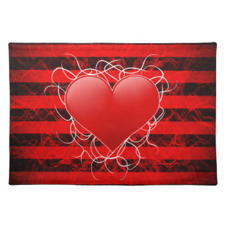Gotisches Punkemo rotes Herz mit schwarzen Streife Tischsets