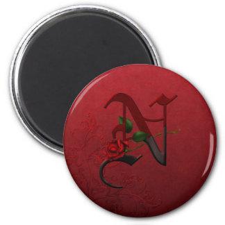 Gotisches Rosen-Monogramm N Runder Magnet 5,7 Cm