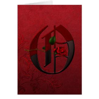Gotisches Rosen-Monogramm O Karte