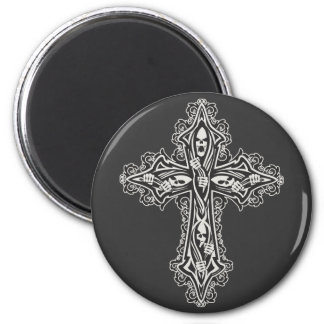 Gotisches Schädel-Kreuz Runder Magnet 5,7 Cm