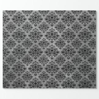 Gotisches schwarzes Schädel-Schmutz-Damast-Muster Geschenkpapier