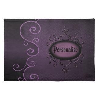 Gotisches Vintages lila personalisiertes Tischset