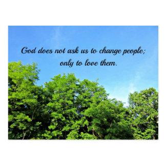 Gott fragt nicht… postkarte