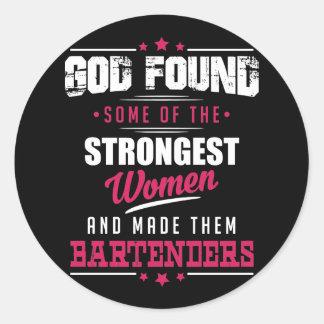 Gott gemachter Barkeeper-unglaublich witzig Runder Aufkleber