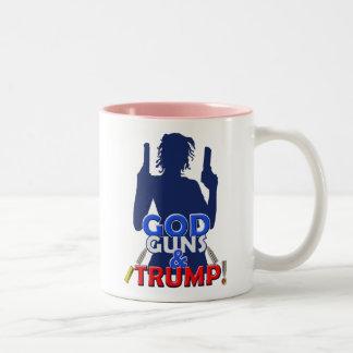Gott-Gewehr-und Trumpf-rote weiße Zweifarbige Tasse