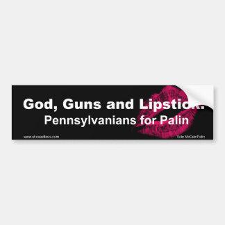 Gott-Gewehre und Lippenstift Pennsylvania Autoaufkleber