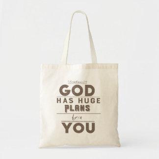 Gott hat enorme Pläne für Sie Taschen-Tasche Tragetasche