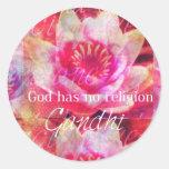 Gott hat keine Religion - Gandhi Zitat Runder Sticker