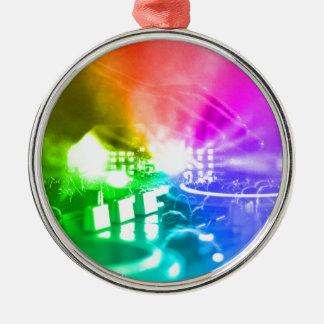 Gott ist ein DJ Rundes Silberfarbenes Ornament
