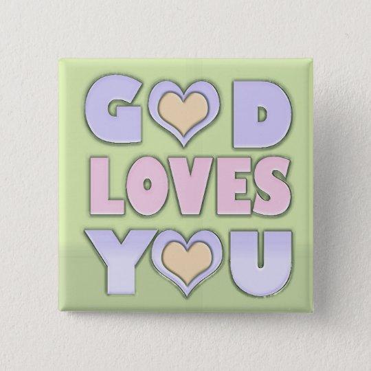 Gott-Lieben Sie Quadratischer Button 5,1 Cm