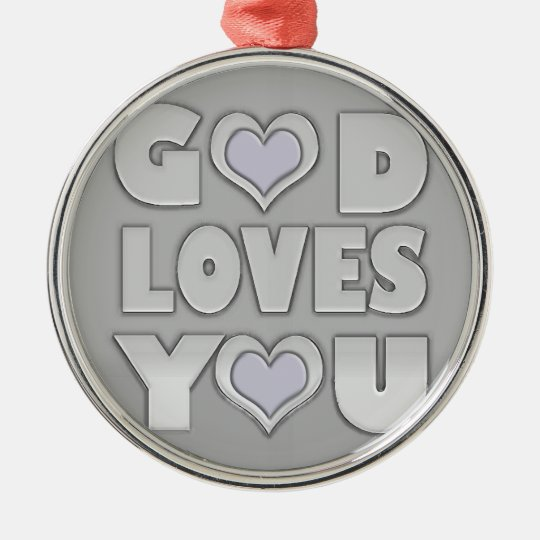 Gott-Lieben Sie Rundes Silberfarbenes Ornament