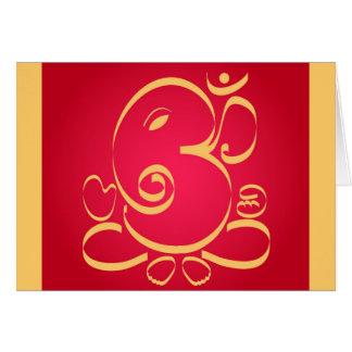 Gott OM Ganesha auf Rot Karte