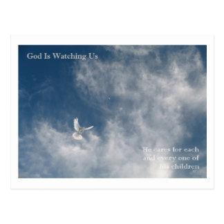 Gott passt über uns auf postkarte