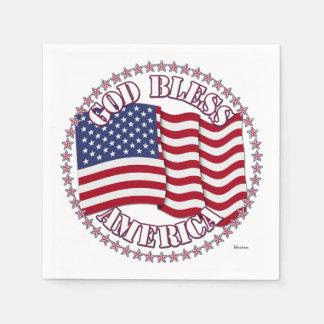 Gott segnen Amerika mit USA-Flagge und 50 Sternen Papierserviette