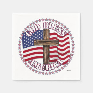 Gott segnen Amerika und Kreuz mit Sternen Papierserviette