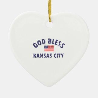 Gott segnen KANSAS CITY Keramik Ornament