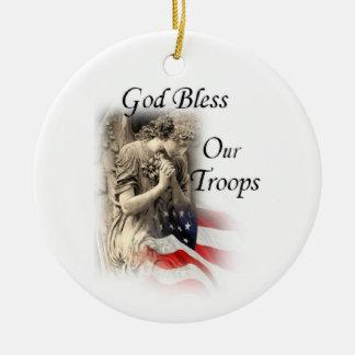 Gott segnen unsere Truppen, die Engel mit Keramik Ornament