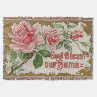 Gott segnen unsere Zuhause-Vintage Decke