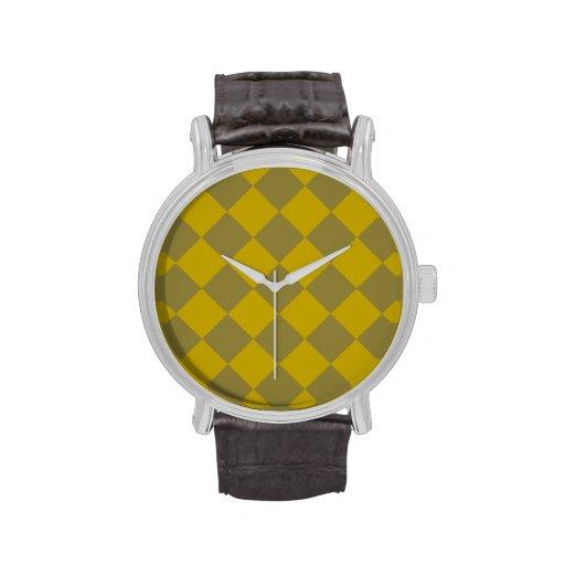 Göttliches Diamant Patterns_Gold Olivgrün Armbanduhr