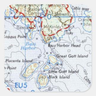 Gotts Insel-Karten-Aufkleber Quadratischer Aufkleber