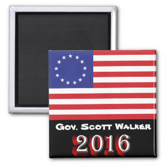 Gov. Scott Walker 2016 - Flagge Betsy Ross US Quadratischer Magnet