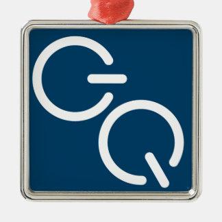 GQ-Quadrat-Podcast Tardis Blau Quadratisches Silberfarbenes Ornament