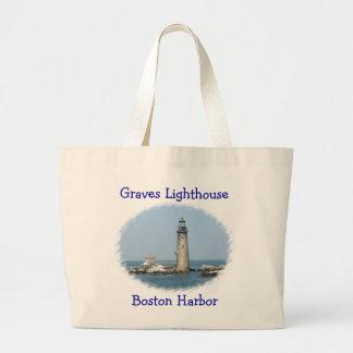 Grab-Leuchtturm-Boston-Hafen-riesige Taschen-Tasch Jumbo Stoffbeutel