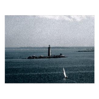 Grab-Licht in Boston-Hafen Postkarte