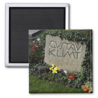 Grab von Gustav Klimt Quadratischer Magnet