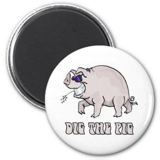 Graben Sie das Schwein Runder Magnet 5,7 Cm
