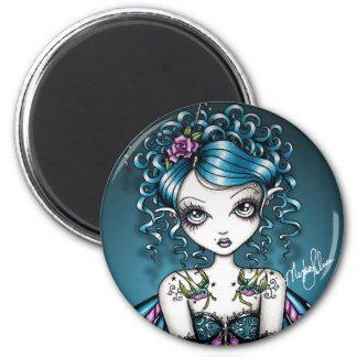 Gracie gotische Couture-Schwalben-Tätowierungs-Fee Runder Magnet 5,1 Cm