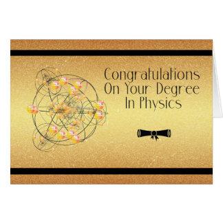 Grad in der Physik-Karte, Glückwunsch-Gold Karte