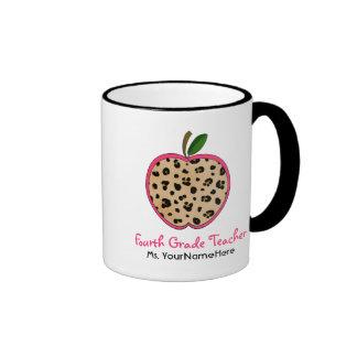Grad-Lehrer-Tasse Leopard-Druck-Apples vierte Ringer Tasse