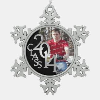 Graduiertes Foto 2014 Schneeflocken Zinn-Ornament