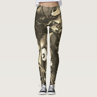 Graffiti-abstrakte Camouflage Leggings
