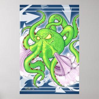 Graffiti-Art-Grün-Kraken-Plakat Poster