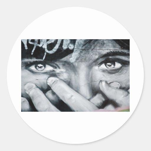 Graffiti-Augen Runder Sticker