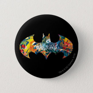 Graffiti Batman-Logo-Neon/80s Runder Button 5,7 Cm
