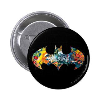 Graffiti Batman-Logo-Neon/80s Runder Button 5,7 Cm