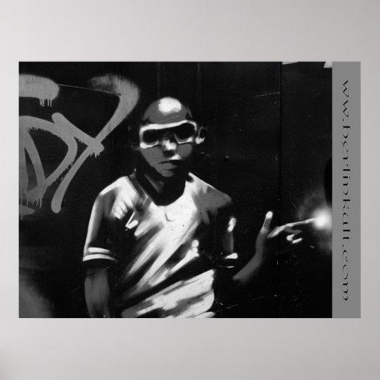 Graffiti Boy black Poster