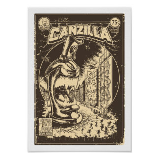 Graffiti - CANZILLA - Retro SciFi Monster Comic Poster