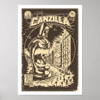 Graffiti - CANZILLA - Retro SciFi Monster Comic Poster